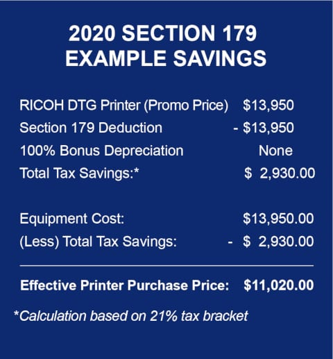 Section 179 for DTG Printer
